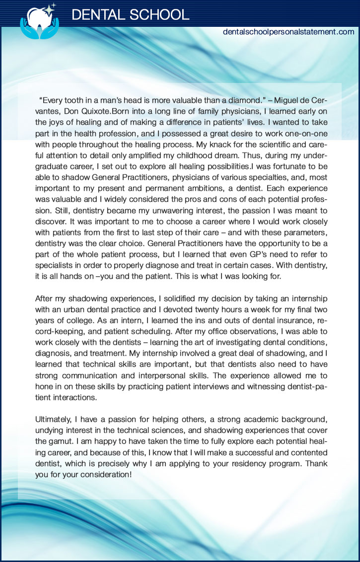 Get A Professional Dental School Personal Statement Example