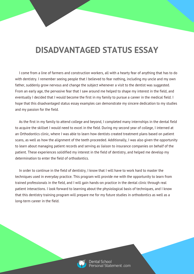 disadvantaged status essay examples