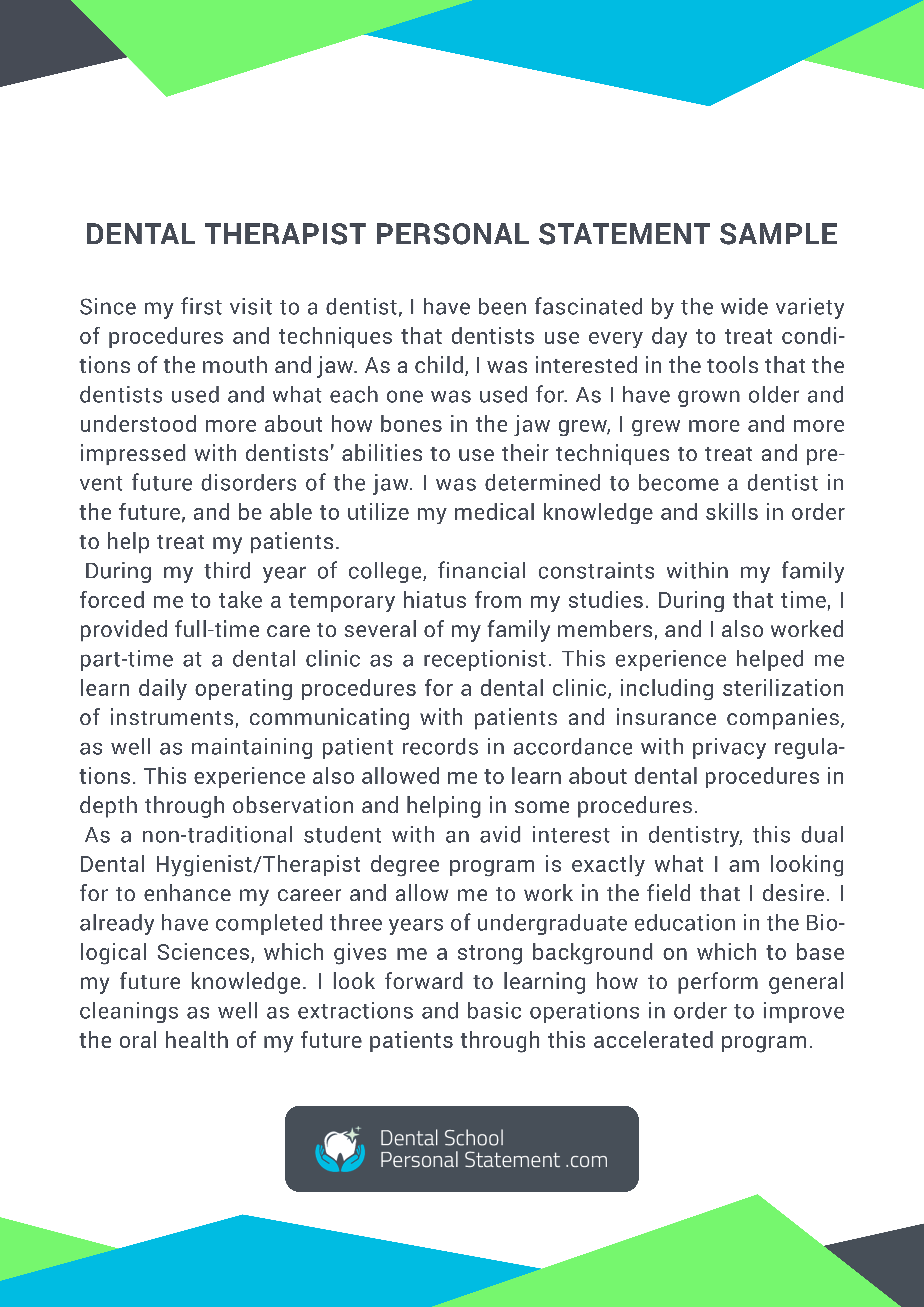 Dental personal statement examples.