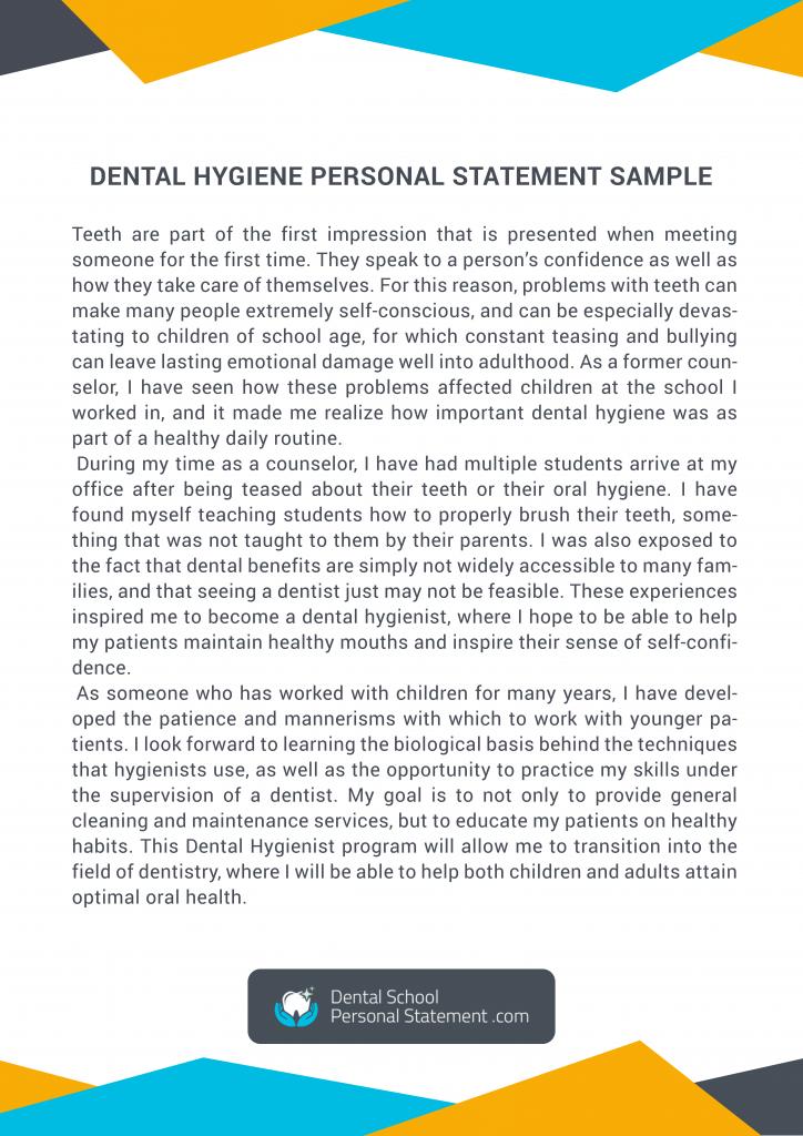 dental hygiene personal statement sample