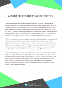 aesthetic restorative dentistry sample