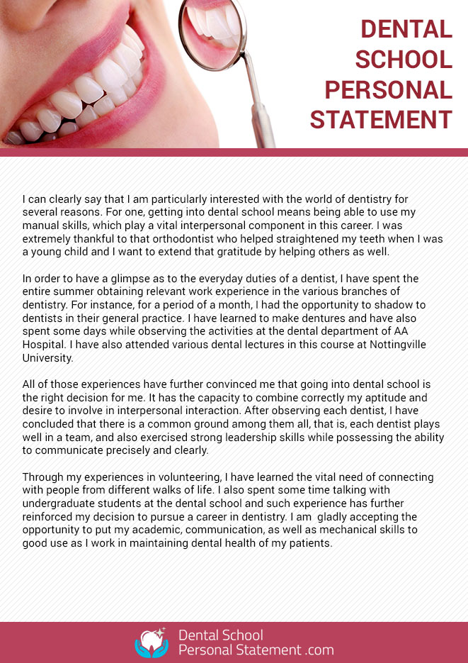 Writing A Good Dental School Personal Statement Is Not Easy To