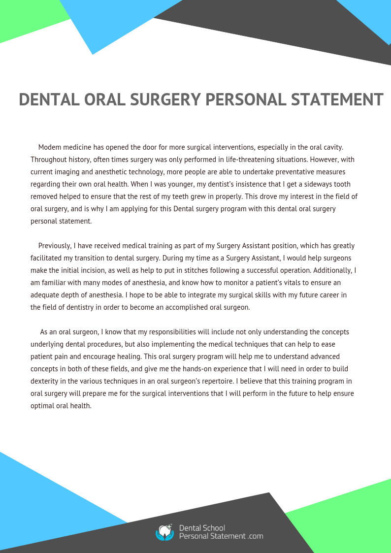 dental oral surgery personal statement