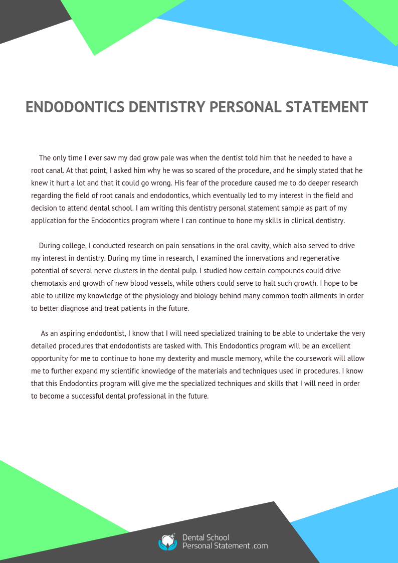 endodontics dentistry personal statement sample