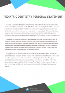 pediatric dentistry personal statement sample